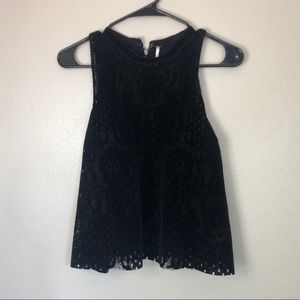 Free People Black Velvet Lace Tank Top